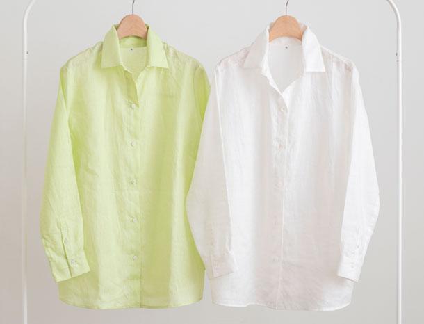 ロング丈のリネンシャツ ライムグリーン
