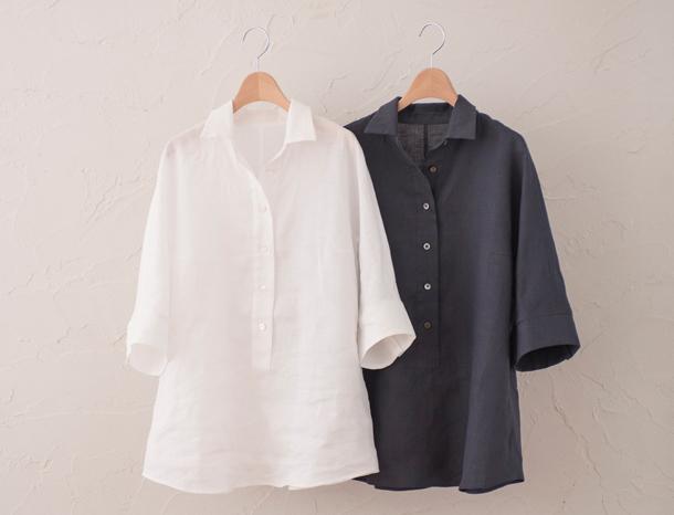 5分袖のリネンシャツ 2種
