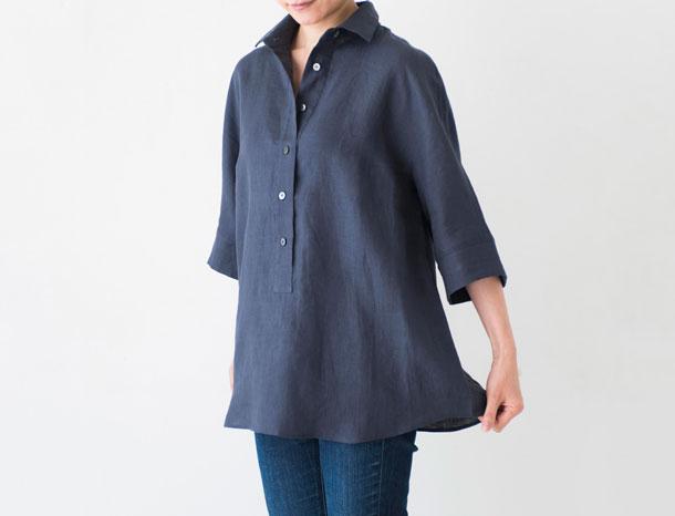 5分袖のリネンシャツ