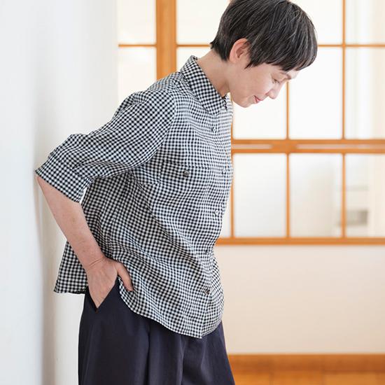 五分袖のギンガムリネンシャツ